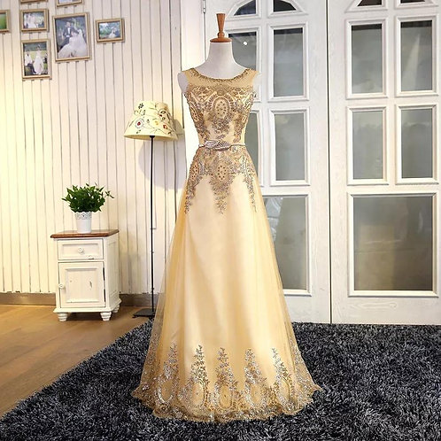 Gold Wedding Tulle Lace Evening Beading Bridemaid Embroidery Robe Gown Dress