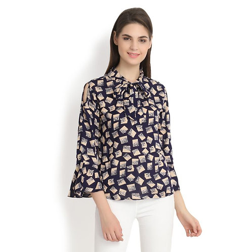 Raabta Navy Blue With Star Print Tai Top & Cold Shoulder With Bell Sleeve Top