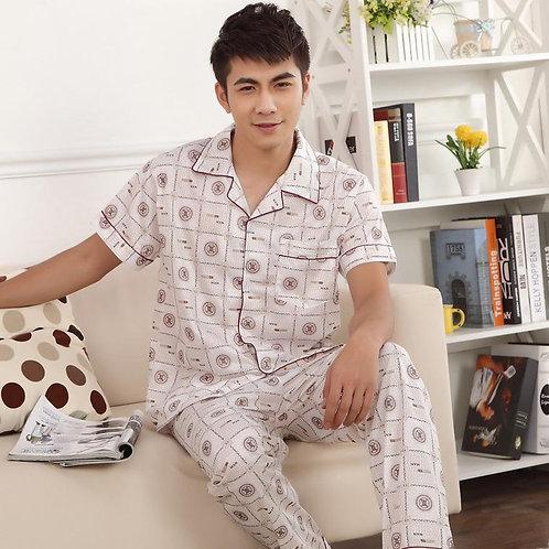 Knitted Cotton Long Pajamas Men's Suit
