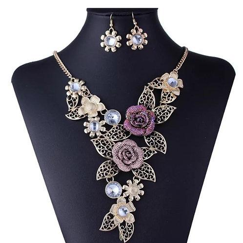 Hollow Flower Diamond Jewelry Set