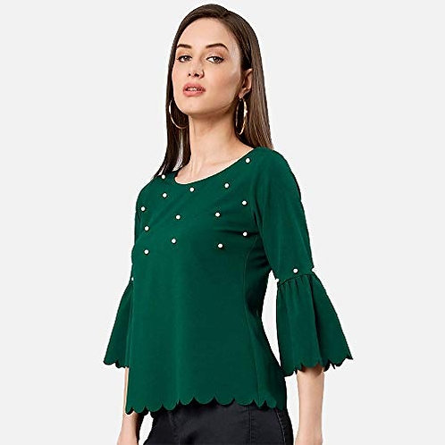 Arbiter Collection Round Neck 3/4 Sleeves Casual Green Top for Women and Girls