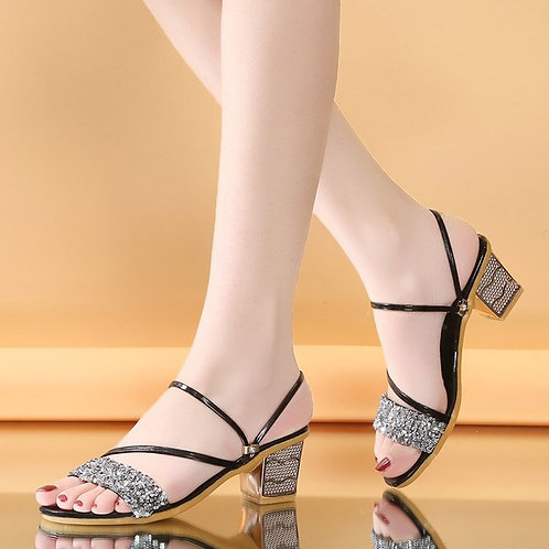 Outside Open Toe Thick Heel Sequins Sandals