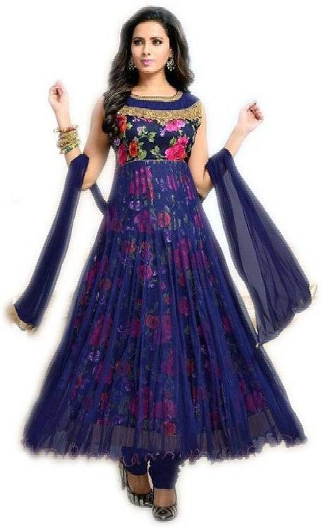 Aika Anarkali Women's Beige Blue Color Salwar Suit Soft Net Fabric With Bhagalpu