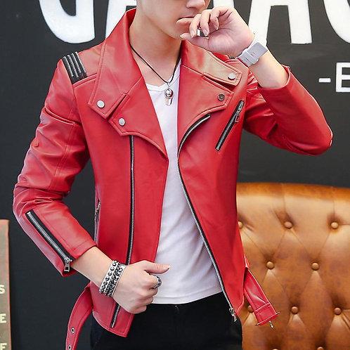 Men Trend Slim Locomotive Leather Jacket Coat