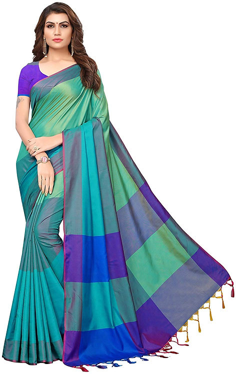 GoSriKi Art Silk Saree with Blouse Piece