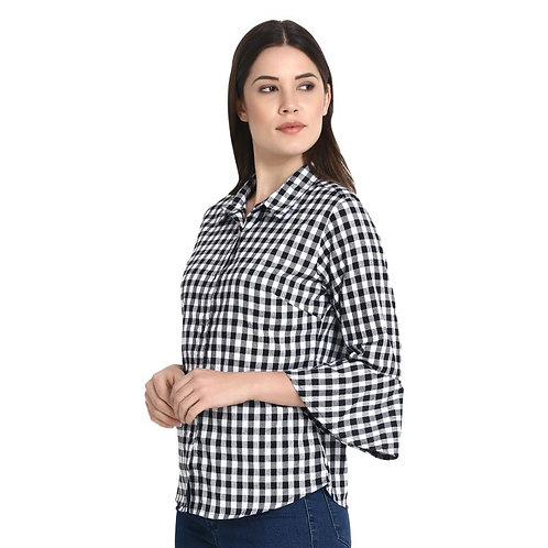Raabta Black and White Lattice Checks Printed shirt with Bell Sleeve for women