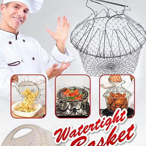 1pc Stainless Steel Chef Basket Foldable Steam Rinse Strain Fry Mesh Strainer