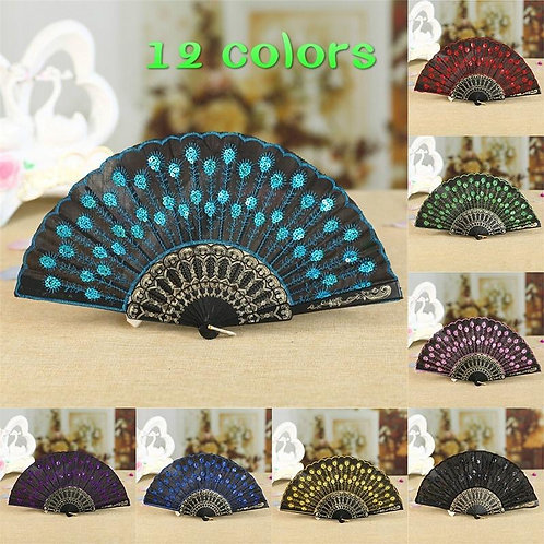 Peacock Pattern Sequin Fabric Hand Fan Decorative