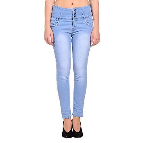 Everdiva Ice Blue High Waist Denim Skinny Casual Jeans (high Waist)