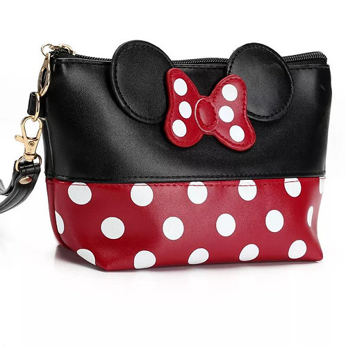 Factory Direct Mickey Bow Knot Dot PU Cosmetic Bag Hand Bag Cute Mickey Portable