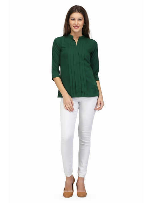 Karmic Vision Women's Crepe Green Solid Casual Top