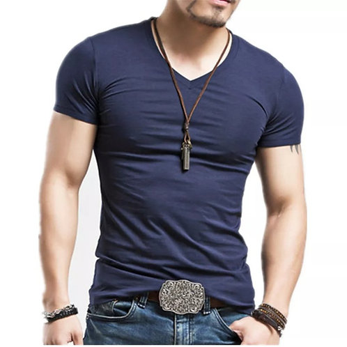 Solid Color V-neck Short-sleeved Comfortable Cool Soft T-shirt