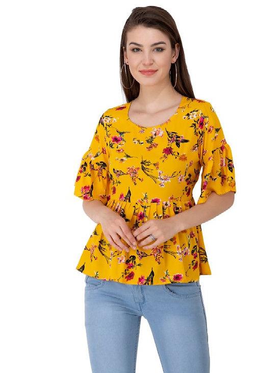 Wildemark Teal Yellow Tai Printed Anarkali Top for women