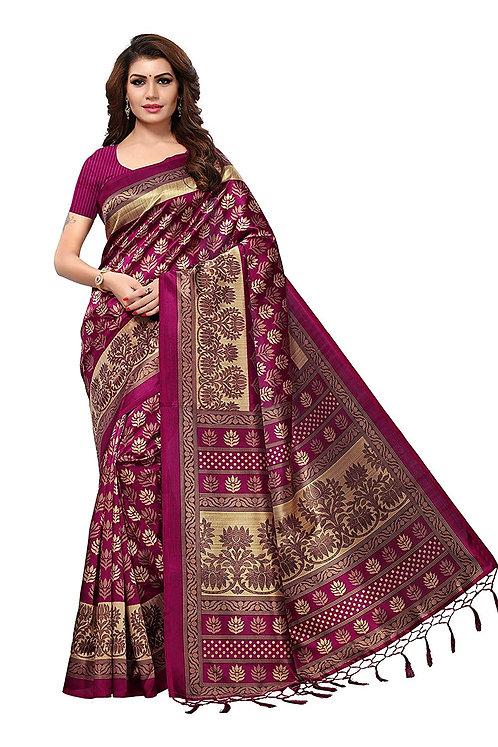 Riti Riwaz Art Silk Saree with Blouse Piece (S181938_Multicoloured_One Size)