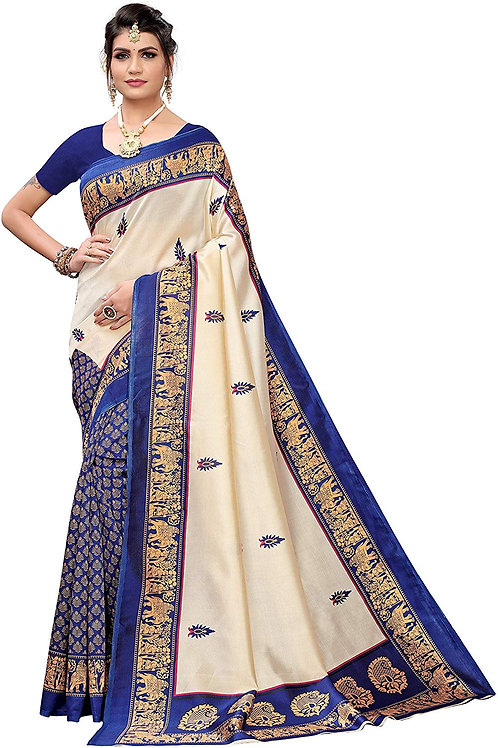 Esomic Women's Art Silk Saree with Blouse Piece