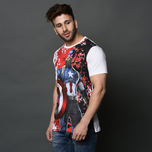 Smartees White Color Cotton Printed Men's Tshirt