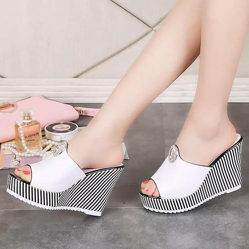 New Thick Bottom Fish Mouth Black High Heel Sandals Beach Shoes