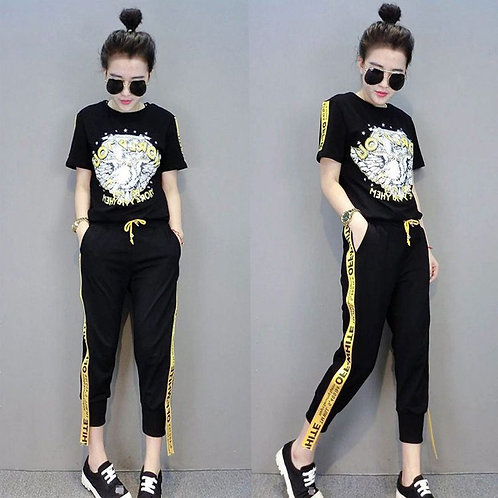 Loose Short Sleeve T-shirt Fashion Set