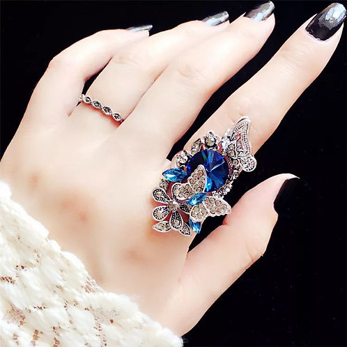 2Pcs Vintage Butterfly Rings Set