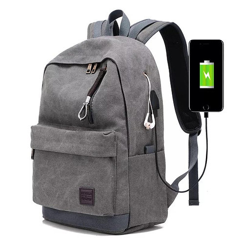 Usb Interface Charge Backpack Men Leisure Canvas Travel Trend Fashion