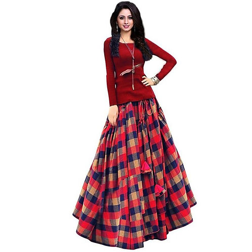 Aika Banglori Satin Semi-stitched Lehenga Red Printed Lattice Choli Free Size