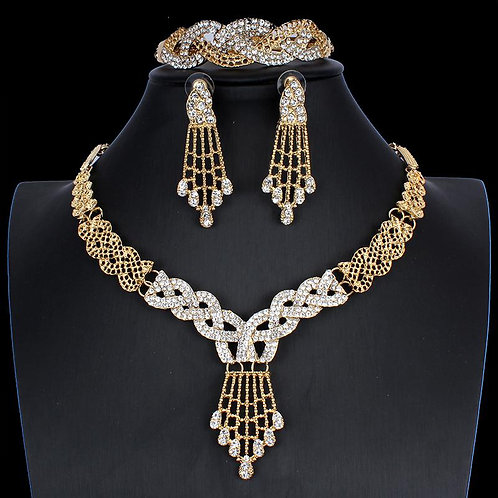 Wedding Jewelry Sets Gold Bridal Necklace Earrings Ring Set