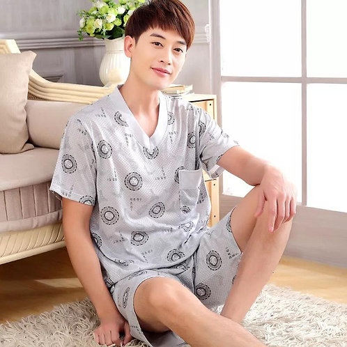 Men's Retro Short Sleeved Cotton Pajamas
