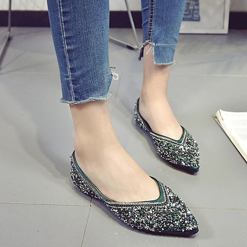 Pointed Toe Shallow Mouth Flat Heel Shoes
