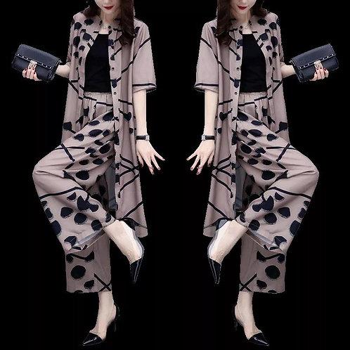 Chiffon Cardigan Coat Wide Leg Pants Fashion Two-piece Suit Top And Wide Leg Pan