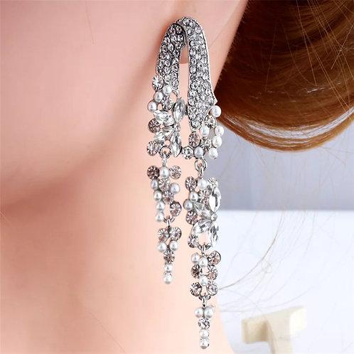 Luxurious silver pearl-like long-eared pendant Wedding Jewelry