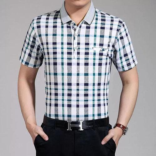 Business Plaid Short-sleeved Polo Shirt Fashion Lapel Thin T-shirt