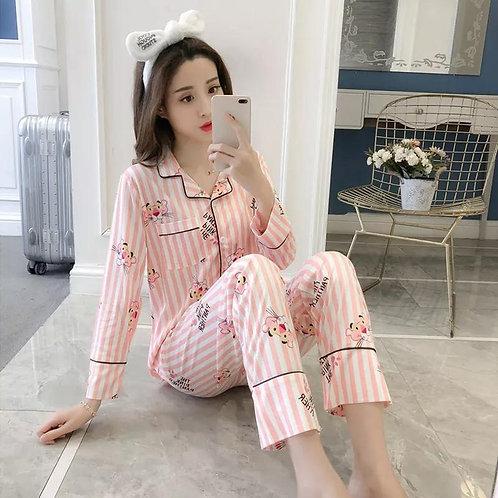 Long Sleeved Milk Silk Printing Pajamas Suite