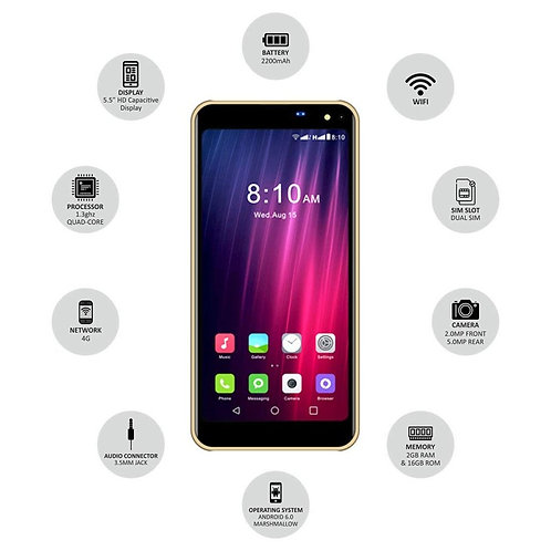 IKALL K8 New 5.45 Inch 4G Android Phone (2GB Golden)