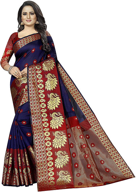 Regolith Designer Sarees Banarasi kanjivaram Style cotton silk multi-colored