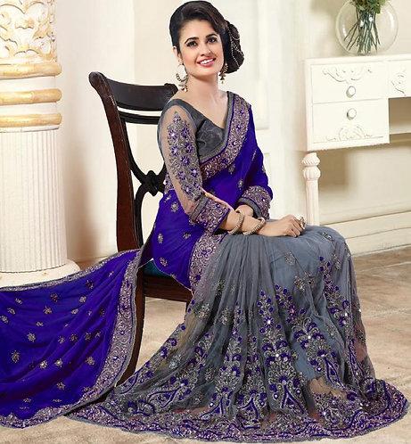 SareeDuniya Designer Navy blue Georgette Bollywood Embroidered Saree with Blouse