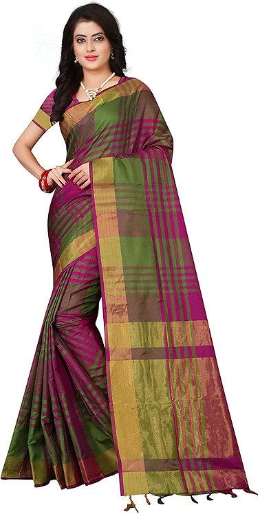 Leriya Fashion Banarasi cotton with blouse piece Saree