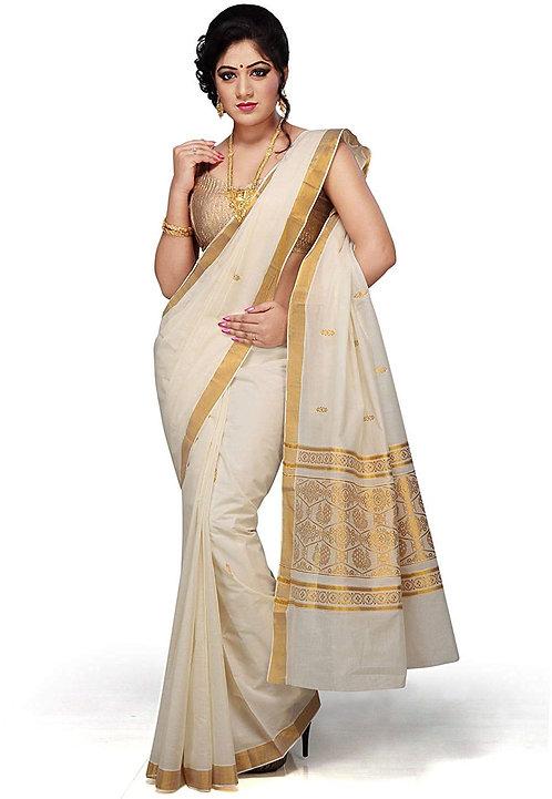 R SELVAMANI TEX Women's Cotton Saree With Blouse(White)