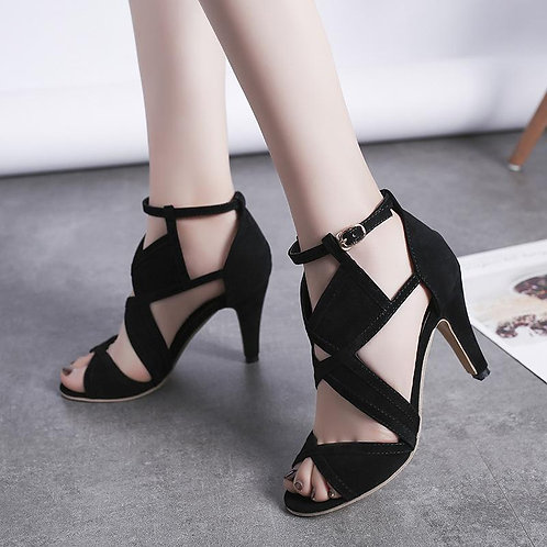 Fish Mouth Shoe The Version Female Sandals Crude With Rhinestone High Heels