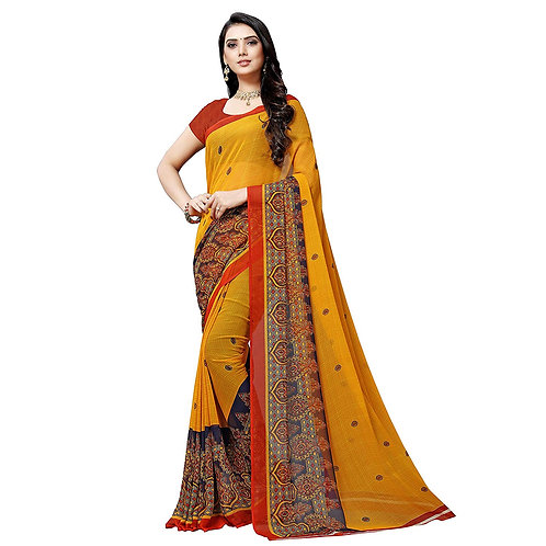 Anand Sarees Georgette with Blouse Piece Saree (1497_Multicoloured_one Size)