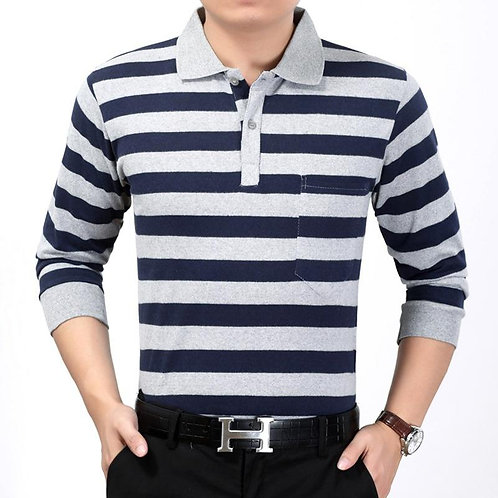 Long Sleeved Striped Polo Shirt