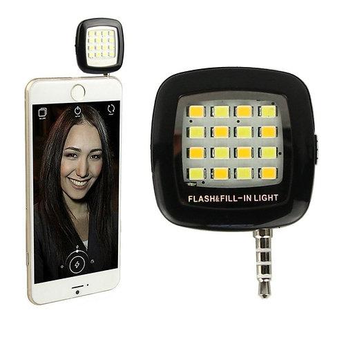 Roeid 16 LED Mini Selfie Flash Light with 3.5mm Jack for All Latest Smartphone