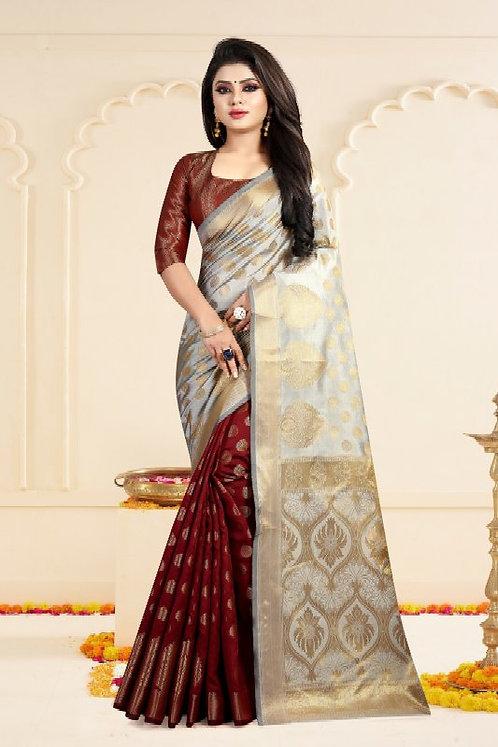 Gazal Fashions Red Banarasi Silk Saree