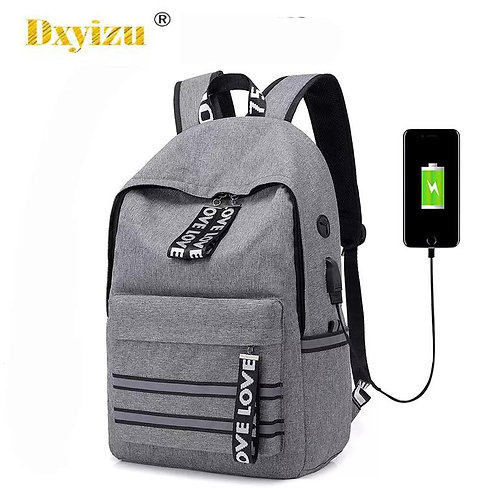 Dxyizu-Usb Charge Backpack Men Waterproof High Capacity Travel Laptop