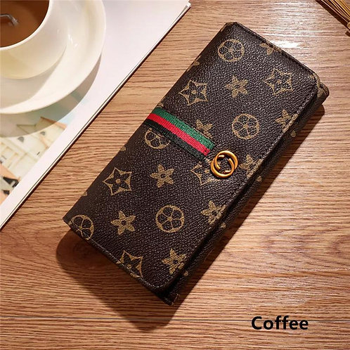 Fashion Floral Print Buckle Long Wallet