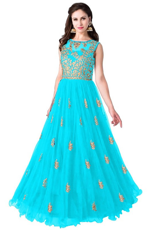 Color Bucket Sky Blue Semi Stitched Embroidery Heavy Net Long Salwar Suit
