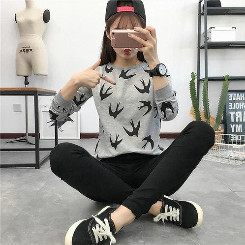 Female Printing Round Neck Long Sleeve Thin T-shirt