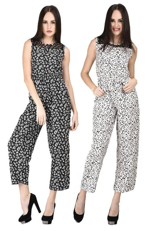 Westrobe Women Black Floral And White Dots Printed Casual Jumpsuits Combo pack