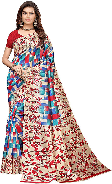 Esomic Women's Silk Saree with Blouse Piece