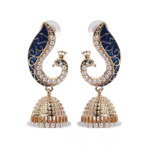 Retro Indian Bollywood Kundan Peacock Jhumka Jewelry