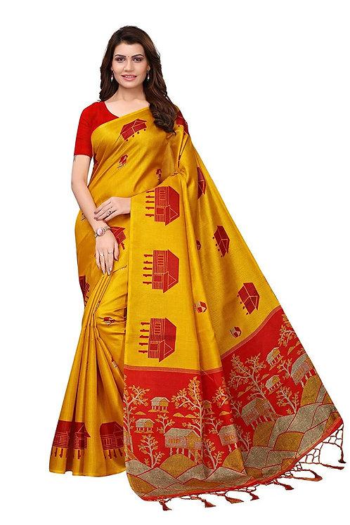 IndoPrimo Silk Saree With Blouse Piece